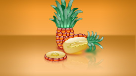 Aqua Pineapple 3D Wallpaper And Brown Background Free