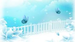 Download Aqua Flower Dreamer White Blue Wallpaper