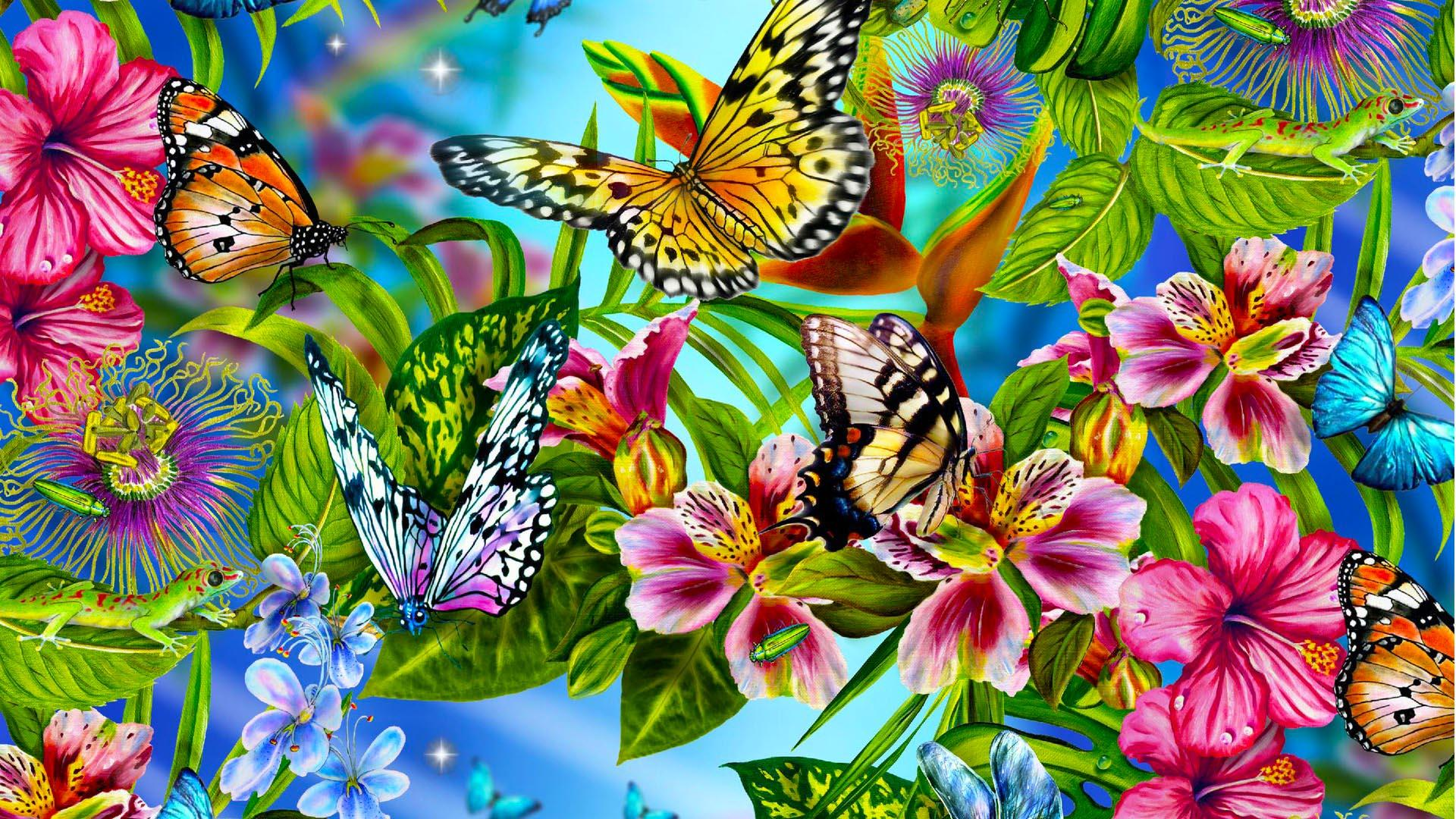 Butterfly Wallpaper Abstract Animals Flowers Leaves  Wallsev.com