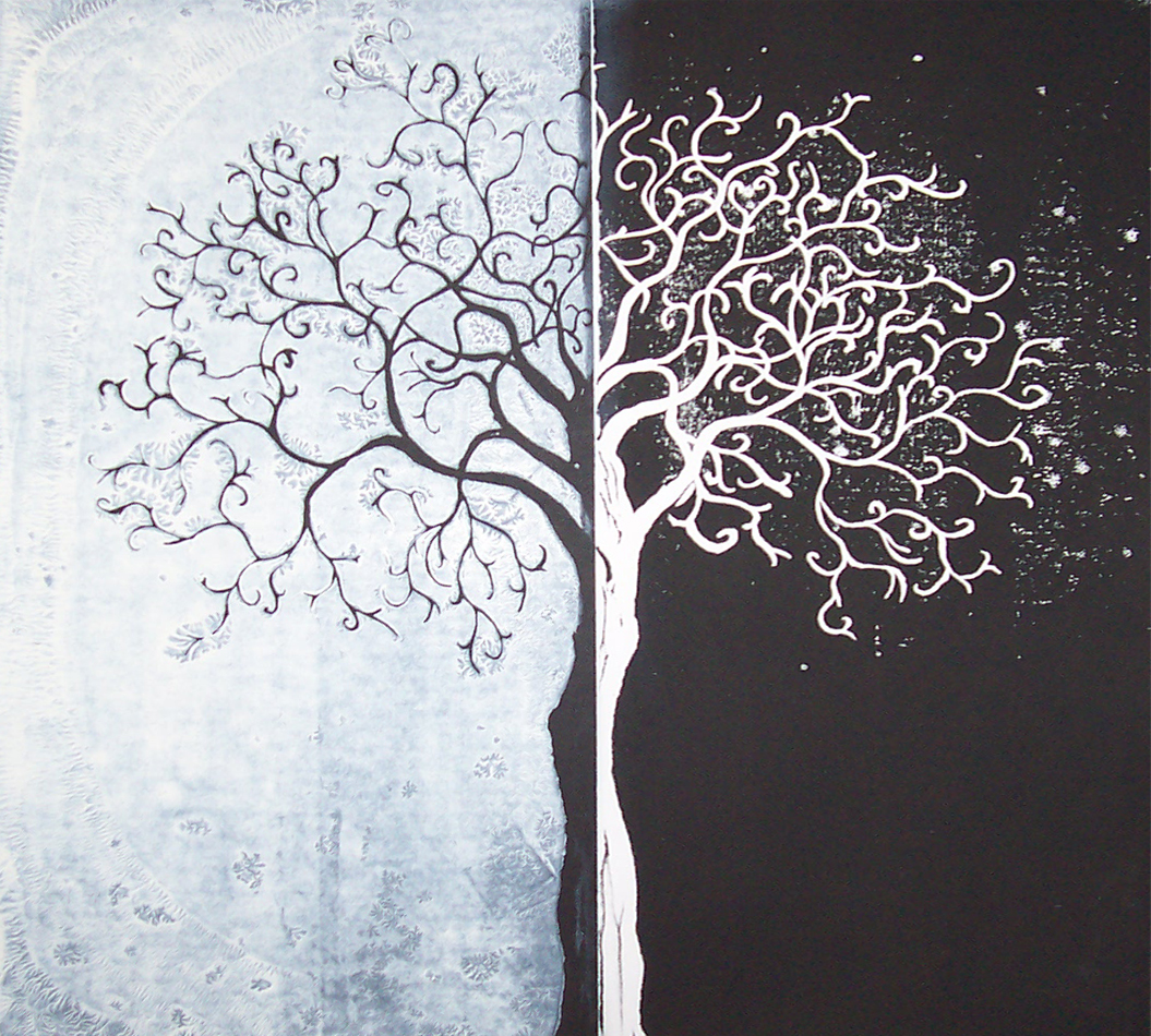 White And Black Art Tree Image Gallery – Wallsev.com ...