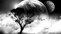 Art Black And White Clouds Moon Tree Inspiring Picture