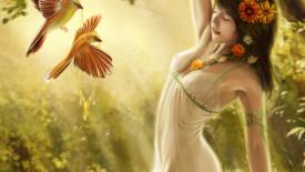Fine Art Pictures Girl Flowers Birds Image HD Wallpaper Free Download