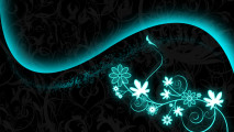 Digital Abstract Drawing Flower Black And Blue HD Wallpaper Image