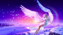 Beautiful White Angel Purple Sky Full HD Wallpaper Image Picture