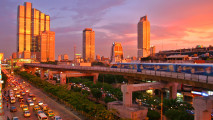 Beautiful Bangkok Skytrain Sunset Photo Picture HD Wallpaper Sharing