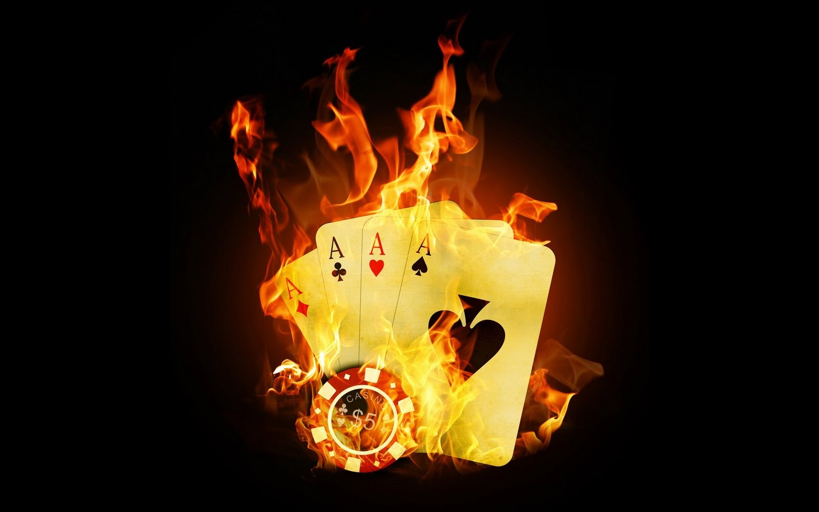 Playing Fire Wallpaper Free: Dark Black Fire Playing Cards Ace HD Wallpapers Picture