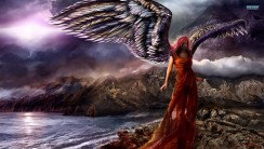 Beautiful Dark Red Angel HD Wallpaper Picture Image