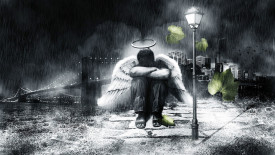 Best HD Wallpaper Picture Desktop Black And White Angel Crying