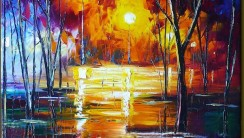 Beautiful Original Abstract Oil Painting Park Night Image Picture Wallpaper