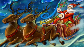 Santa Claus With Reindeers High Definition Wallpaper Image 2014