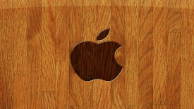 iPhone Logo With Wood Background HD Wallpaper Image