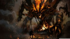 Big Demon Fire Fight One Human HD Wallpaper Image For Your PC Laptop