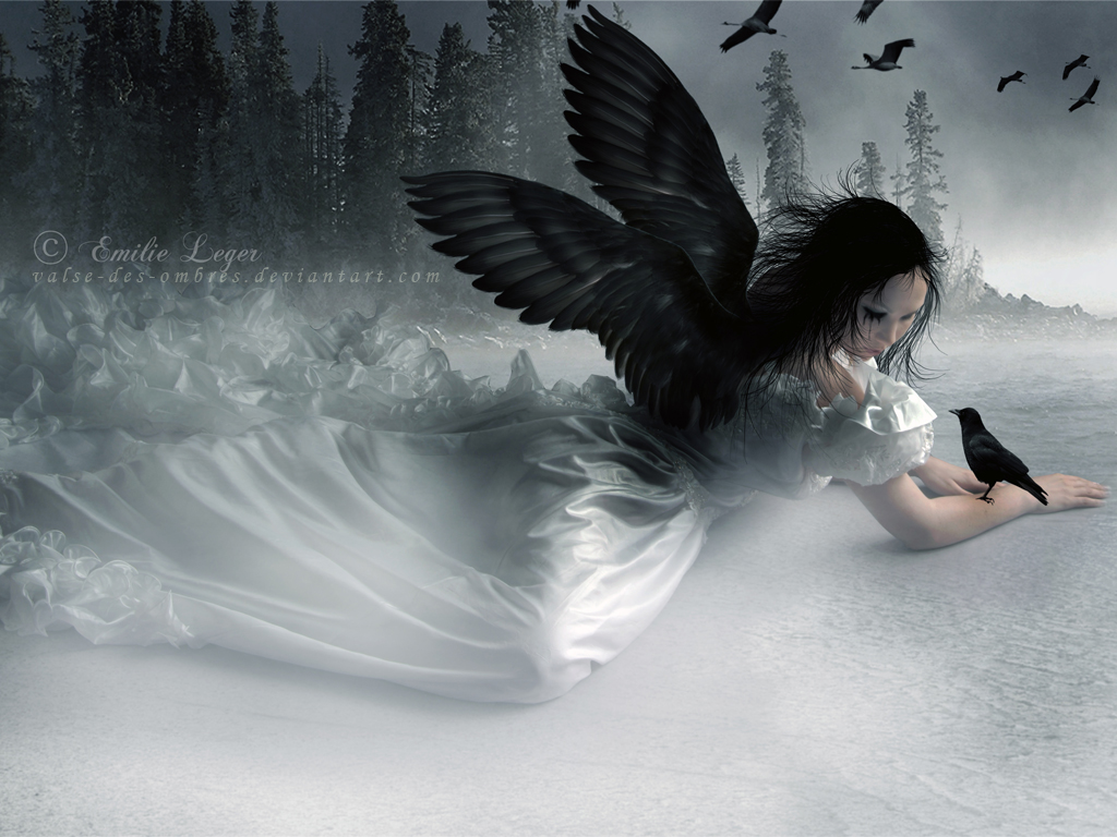 Gothic Angel With Black Swings Wallpaper HD Widescreen For ...