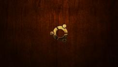 Linux Ubuntu Distro Logo Distressed Brown Leather HD Wallpaper For Desktop