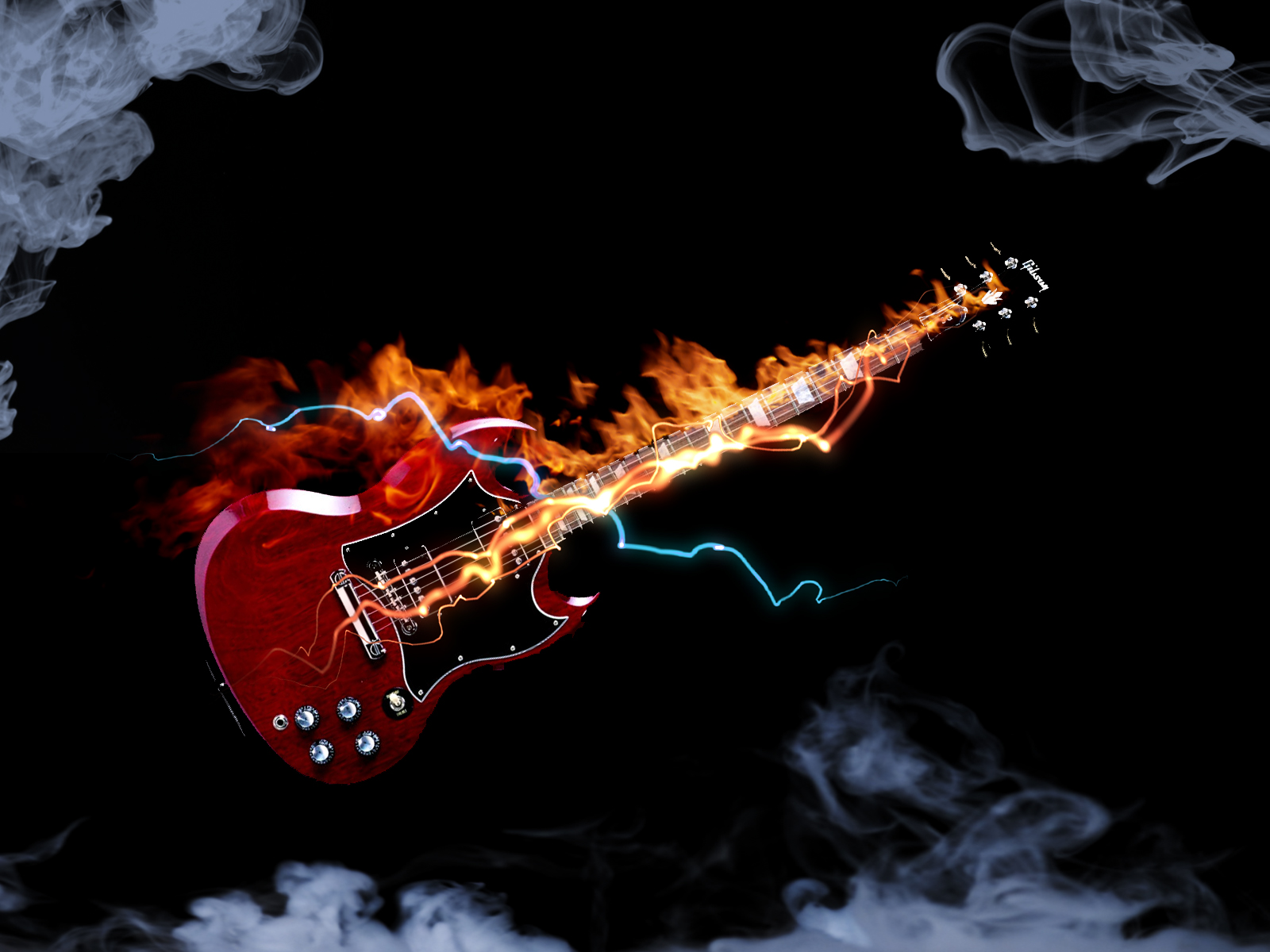 electric guitar art wallpaper fire - photo #17