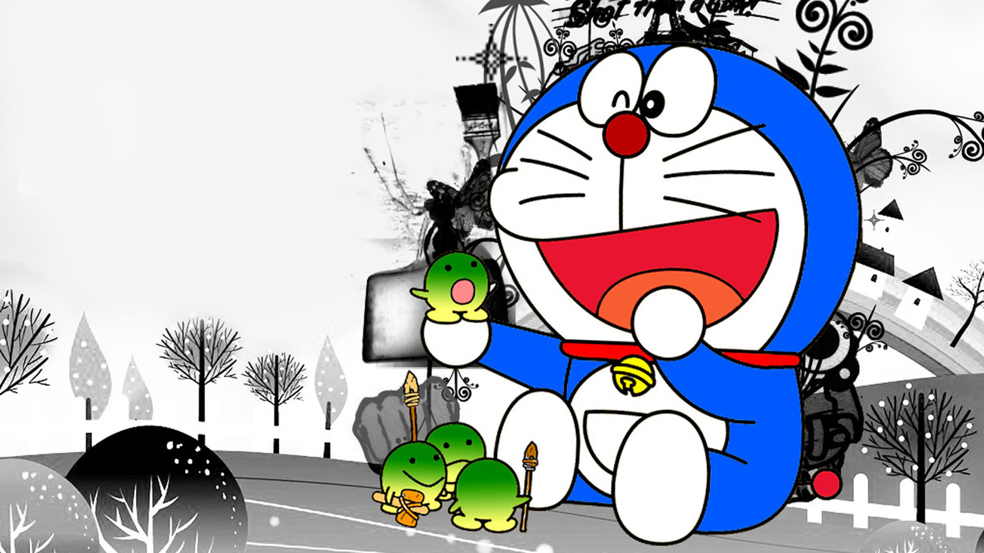 Funny Doraemon Cartoon Black White HD Wallpaper Image