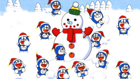 Snowman Doraemon Christmas HD Wallpaper Image Picture