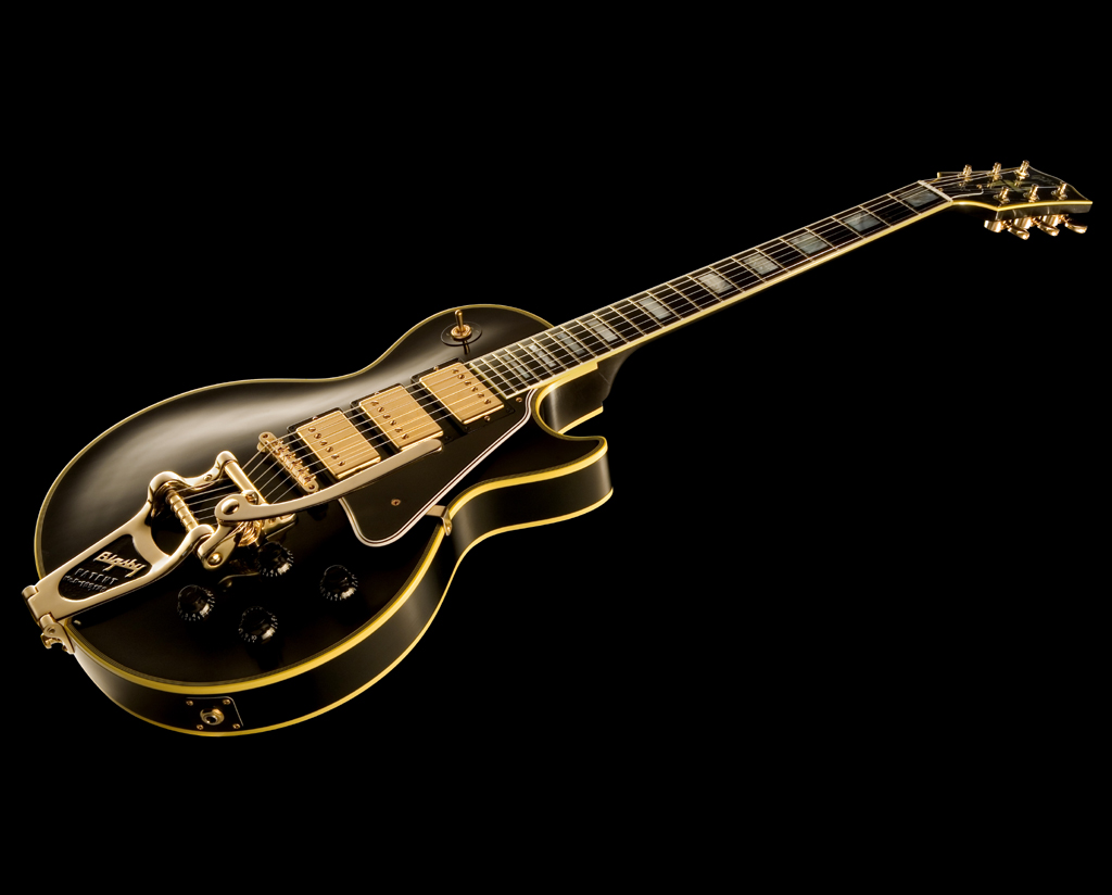 Gibson Les Paul Electric Guitar Music Black Background HD