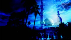 Amazing Dark Blue Mosque Islamic HD Wallpaper Picture