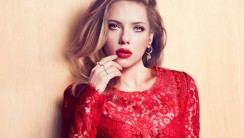Scarlett Johansson in red lace wallpaper