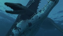 Pliosaur Killing Plesiosaur HD Wallpaper