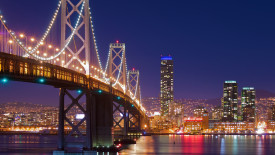 San Francisco and Golden Gate Bridge HD Wallpaper