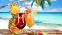 Tropical Beach Drinks HD Wallpaper