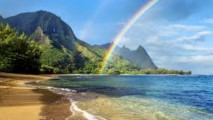 Rainbow and Beach HD Wallpaper