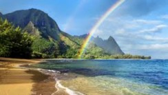 Rainbow and Beach HD Wallpaper