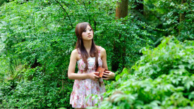 Attractive Introspective Woman in Forest HD Wallpaper
