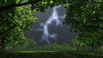 Lightning Bolt over a Field HD Wallpaper