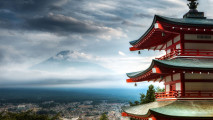 Chureito Pagoda overlooking Mount Fuji HD Wallpaper