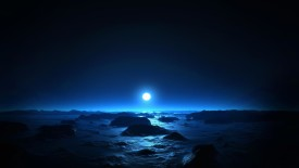 Moon over Blue Water HD Wallpaper