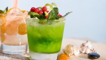 Green and Peach Tropical Drinks HD Wallpaper
