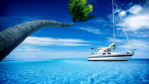 Anchored Sailboat in the Tropics HD Wallpaper