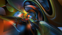 Green, Orange and Blue Abstract HD Wallpaper