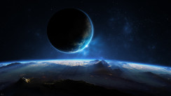 Moon, Earth and Stars HD Wallpaper